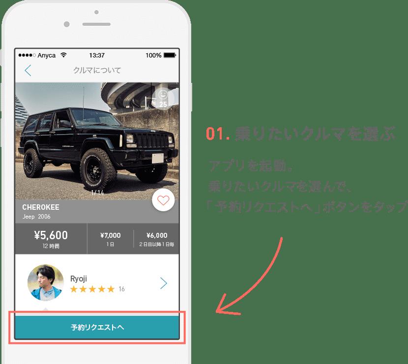 01.乗りたいクルマを選ぶ アプリ起動。乗りたいクルマを選んで、「予約リクエストへ」ボタンをタップ