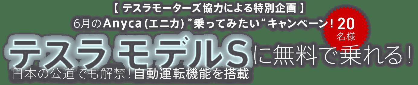 """【テスラモーターズ協力による特別企画】6月の Anyca(エニカ)""""乗ってみたい""""キャンペーン!テスラ モデルSに無料で乗れる!日本の公道でも解禁!自動運転機能を搭載 20名様"""