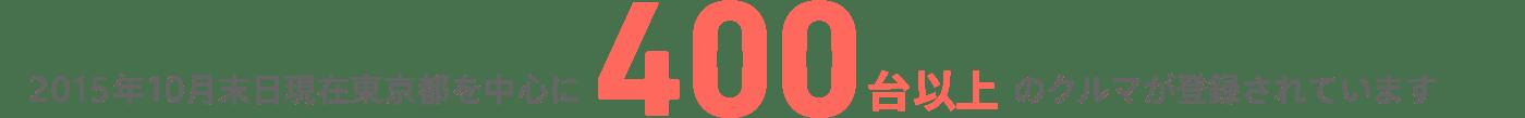 2015年10月末日現在東京都を中心に400台以上のクルマが登録されています
