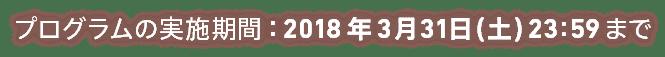 プログラムの実施期間:2018年3月31日(土) 23:59まで